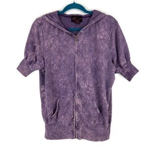 Torrid Purple Acid Wash Zip Up Short Sleeve Hoodie